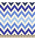 Blizzard Fleece Fabric - Chevronicle Blue