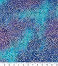 Legacy Studio Indian Batiks Cotton Fabric -Purple Scrolls Metallic