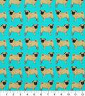 Novelty Cotton Fabric -Pug On Turq