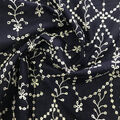Specialty Cotton 2-Color Embroidered Scallop Cotton Fabric-Navy White