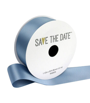 """Save the Date 1.5"""" x 30ft Ribbon-Grey Blue Satin"""