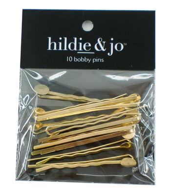 hildie & jo 10 pk Metal Bobby Pins-Gold
