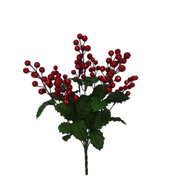 Blooming Holiday Christmas 18'' Glitter Berry Bush-Red