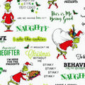 Christmas The Grinch Cotton Fabric-Stripes & Words