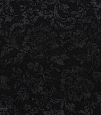 "Harvest Cotton Fabric 44""-Tonal Mums on Black"