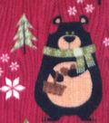 Anti-Pill Fleece Fabric 59\u0022-Northwoods Bears & Trees
