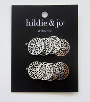 hildie & jo 8 pk Filigree Tree Charms-Silver, , hi-res