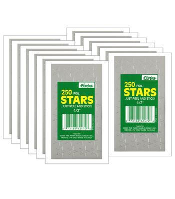 "1/2"" Silver Presto-Stick Foil Star Stickers 12 Packs"