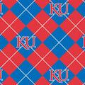 University of Kansas Jayhawks Fleece Fabric -Argyle