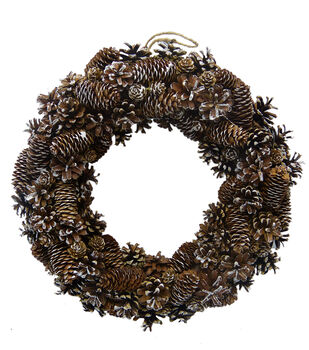 Handmade Holiday Christmas 17.72'' White Washed Pinecone Wreath