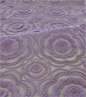 "Sew Sweet Embellised Floral Mesh Fabric 52""-Lavender"