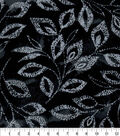 Luxe Flannel Fabric -Floral Vines On Black