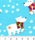 Snuggle Flannel Fabric -Polar Bears With Scarves