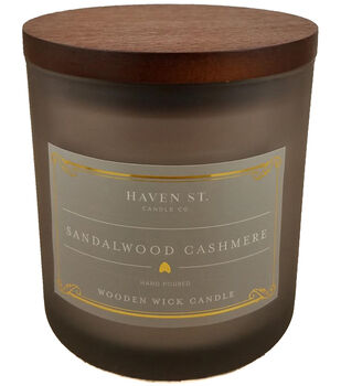 Haven St. Candle Co. Sandalwood Cashmere Scented Wooden Wick Jar Candle