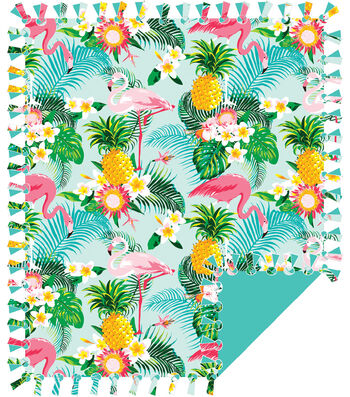No Sew Fleece Throw 72''-Pineapple & Flamingos