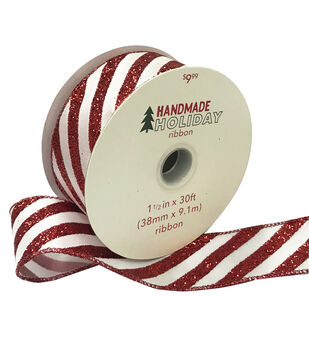 Handmade Holiday Christmas Ribbon 1.5''x30'-Red & White Candy Stripes