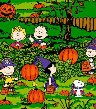 Peanuts Halloween Fleece Fabric-Spooky Night