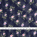 Check It Navy Scattered Floral Jaquard Poly Yoryu Fabric 57\u0022