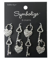 hildie & jo Symbolize 8 Pack Key & Lock Silver Charms, , hi-res