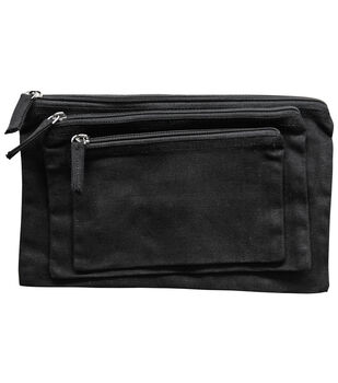 Canvas Zipper Pouch Bags-Black