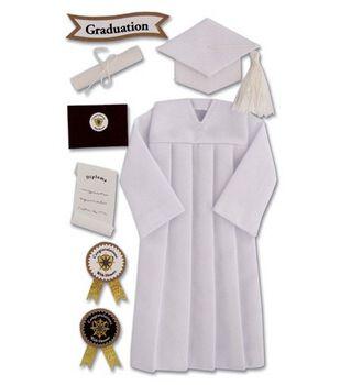 Jolee's Boutique Le Grande Ornate Stickers-Graduation Cap & Gown/White