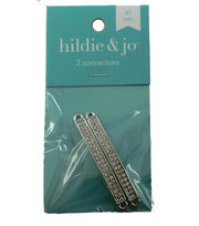 hildie & jo 2 Pack Connectors with Clear Rhinestones-Silver, , hi-res