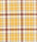 Harvest Cotton Fabric 43\u0022-Cream Burgundy Plaid