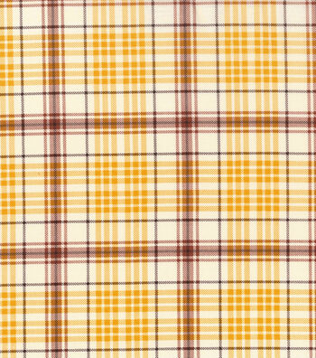 "Harvest Cotton Fabric 43""-Cream Burgundy Plaid"