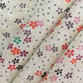 Printed Rayon & Spandex Knit Fabric-Foil Dotty Floral on Ivory