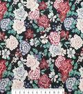 Silky Stretch Satin Fabric 55\u0022-Black Multi Floral Textured