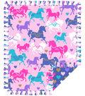 No Sew Fleece Throw 48\u0022- Unicorns In Pink