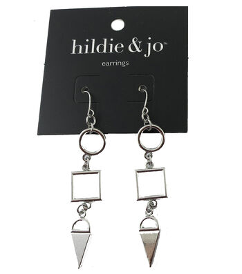hildie & jo Circle, Square & Triangle Silver Dangle Earrings