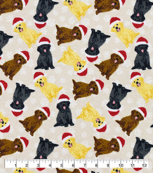 Christmas Snuggle Flannel Fabric-Holiday Golden Retrievers