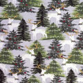 Christmas Cotton Fabric-White Gold Deer In Trees Metallic