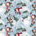 Christmas Cotton Fabric-Watercolor Snowman Blue