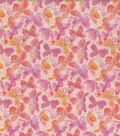 Keepsake Calico Cotton Fabric-Butterflies Glitter Pink