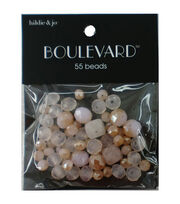 hildie & jo Boulevard 55 pk Mixed Glass Beads-White, Peach & Clear, , hi-res