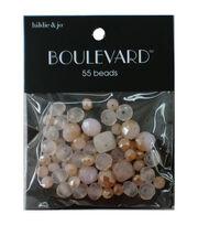 hildie & jo Boulevard 55 pk Mixed Glass Beads-White, Peach & Clear, , hi-res