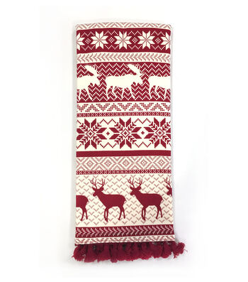 Maker's Holiday Christmas 15''x28'' Kitchen Towel-Red Fair Isle