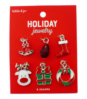 hildie & jo Holiday 6 pk Present, Wreath & Multi Charms, , hi-res