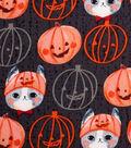 Halloween Cotton Fabric -Kitty Pumpkin Hat