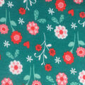 Doodles Cotton Interlock Fabric-Coral Floral Garden on Turquoise
