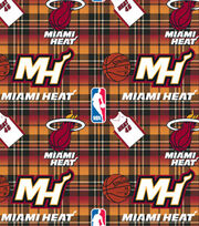 Miami Heat Fleece Fabric -Plaid, , hi-res