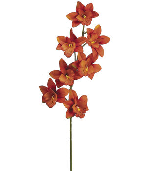 "Bloom Room 28"" Cymbidium Orchid Spray-Flame Orange"
