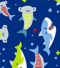 Snuggle Flannel Fabric -Shark Time