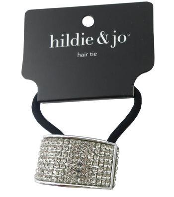 hildie & jo Black Ponytail Hair Tie with Silver Cuff-Crystals