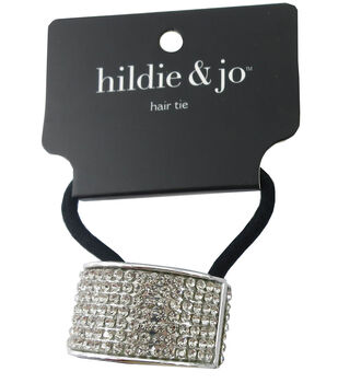 hildie   jo Black Ponytail Hair Tie with Silver Cuff-Crystals 059344fa919