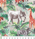 Novelty Cotton Fabric Painted Safari Animals