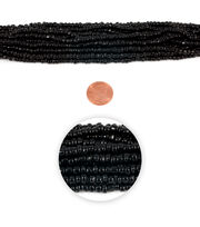 Blue Moon Strung Glass Seed Bead Hank,Jet Black, , hi-res