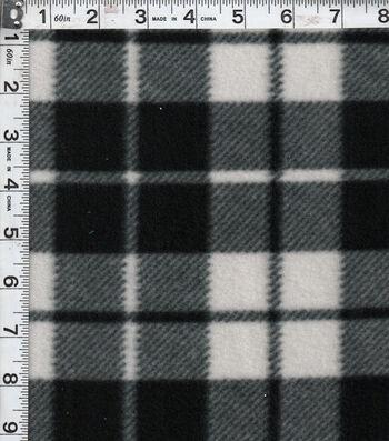 Blizzard Fleece Fabric 58''-Black & White Plaid